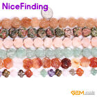"14mm Natural Carved Flower Gemstone Loose Beads For Jewelry Making Strand 15""DIY"
