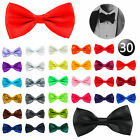 30Colour Adjustable Satin Mens Pre Tied Bow Ties Plain Necktie Tie Wedding Party