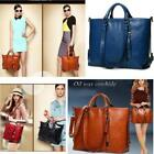 Women's Lady Oiled Leather Handbag Briefcase Laptop Tote Shoulder Messenger Bag