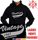 Vintage 1967 50th Birthday Hoodie Men's Ladies Present Gift Quality Fleecy New