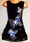 GIRLS 60s BLACK SPARKLY SEQUIN SILVER BLUE DANCING BUTTERFLIES DISCO PARTY DRESS