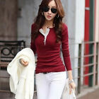 Womens Ladies Slim Fit Long Sleeve Cotton Casual Blouse Shirt Top Blouse