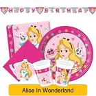 Disney ALICE IN WONDERLAND Birthday PARTY RANGE - Princess Tableware Decorations