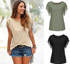 Fashion Women's Summer Tassels Sleeve Tee T Shirts Tops Blouse Clothes Solid Top