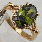 Size6 7 8 Classical Green Peridot Oval Gem Jewelry Yellow Gold Filled Ring R2207