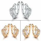 Pave round cut 1mm Topaz Huggie pierced wedding earring in 18k white gold filled