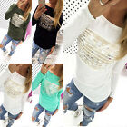 Women Fashion Print Loose Pullover T-Shirt Long Sleeve Cotton Tops Shirt Blouse