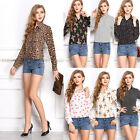 New Women Ladies Chiffon Long Sleeve Floral Button Tops Blouse T Shirt S M L XL