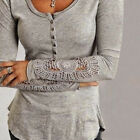 Cool Women Clothes Long Sleeve Tops Casual Lace Blouse Loose Grey Cotton T Shirt