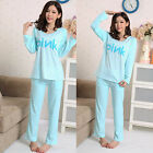 Masaling Women Silk Casual Pajamas Long Sleeve Leisure Homewear Sleepwear