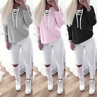 Womens Cross Lace Up Sweatshirt Hoodies Hoody Top T-Shirts Jumper Pullover 6-14