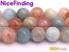 Natural Morganite Pink Beryl Genuine Round Gemstone Beads For Jewelry Making 15""