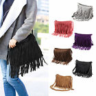 Womens Ladies Both Side Fringe Tassel Faux Suede Shoulder Messenger Bag Handbag