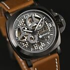 INFANTRY Mens Mechanical Wrist Watch Luxury Sport Leather Police Design Skeleton