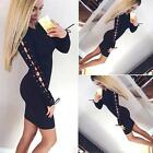 Women Bandage Lace-up Bodycon Club Dress Long Sleeve Evening Party Cocktail