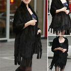 100% Real Knitted Mink Fur Stole Cape Long Shawl Women Luxury Black Shawl Xmas