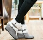Trendy New Womens Casual Elegant Loafers Fur Trim Zip Flats Warm Ankle Snow Boot