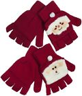 RJM Ladies Festive Christmas Mitten Cap Fingerless Gloves