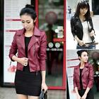 New Womens Ladies Black Synthetic Leather Jacket Short Slim Coat Motorcycle
