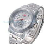 Luxury Dial Silver Mens Date Stainless Steel Sport Quartz Analog Wrist Watches