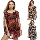 Fashion Women Ladies Casual O-neck Sleeve Batwing Floral Loose T-shirt EN24H
