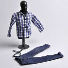 """1:6 ZY TOYS Youth Blue White Checker Box Shirt&Jeans Set For 12"""" Action Figure"""