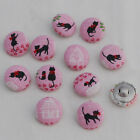 11 Handmade Fabric Covered Sewing Buttons - Cat Sweet Home - Pink White - 18mm
