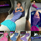 Beach Kids Girls Crocheted Mermaid Tail Handmade Cocoon Knit Lapghan Blankets