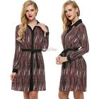 Women Long Sleeve Stripe Loose Casual Shift Dress with Belt S0BZ