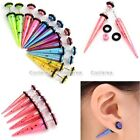 2x Acrylic Colorful Illusion Spike Taper Fake Cheater Ear Stretcher Plug Earring