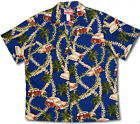 Plumeria Lei Woodies Men's RJC vintage aloha Shirt NAVY BLUE made in Hawaii