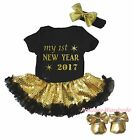 1ST New Year 2017 Black Bodysuit Gold Bling Sequins Girl Baby Dress Shoes NB-18M