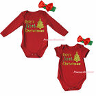 Baby First Christmas Tree Red One Piece Cotton Girl Bodysuit Jumpsuit Set NB-18M