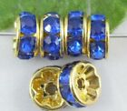 100Pcs Gold  Plated And Crystal Spacer Bead 8mm Sapphire