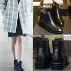 Fashion Womens Syntheic Leather Boot Slip-On Outdoor Solid Ankle Boot Shoes S0BZ