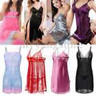 Women Sexy Lace Lingerie Silk Robe Dress Nightdress Nightgown Sleepwear 4 Styles