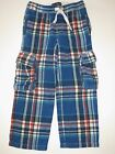 Mini Boden boys blue plaid brushed tartan flannel cargo pants school holiday 7 8