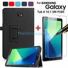 PU Stand Case+Tempered Glass Screen Protector for SAM Galaxy Tab A 10.1 SM-P580