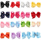 4.5 Inch Hair Bow Dot Girls Baby Boutique Grosgrain Ribbon Lined Clips Bowknot