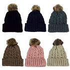 Ladies Chunky Cable Knit Pom Pom Bobble Hat Various Colours 60711
