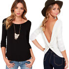 Fashion Women's Backless Solid Casual Long Sleeve Shirts Tee Blouse Tops T-shirt