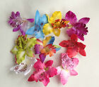 3 Large Artificial Simulation Fabric Orchid  Flower Head 7cm