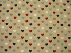 Nautical Range Love Hearts Linen Look Fabric Curtains Upholstery Patchwork