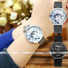 Chic Marble Pattern Black Silver Case PU Leather Band Quartz Wrist Watch + Box