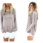 HOT Women's Long Sleeve T Shirt Casual Lady Blouse Loose Cotton Tops Pullover AU