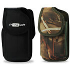 RUGGED Nylon Carry Case Holster Pouch+Metal Belt Clip for Phones (Camo or Black)