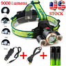 9000Lm 3X XML T6 2R5 LED Headlamp HeadLight Torch Light  USB  18650  Car Charger