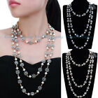 Fashion Jewelry Gold Silver Pearl Chain Choker Collar Statement Long Necklace