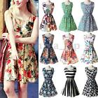 Women Summer Floral Print Mini Dress Fashion Slim Sleeveless Short Dress S-2XL