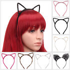 Womens Cat Ear Headband Felt Metal Wired Lace Hairband Costume Fancy Cosplay